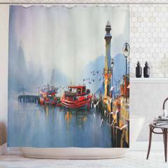 Yağlı Boya Resmi Etkili Duş Perdesi Liman Kasabası