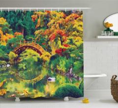 Yağlı Boya Resmi Etkili Duş Perdesi Sonbahar Bahçesi