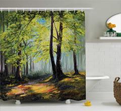 Yeşil Orman Desenli Duş Perdesi Yağlı Boya