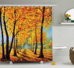 Sonbaharda Ağaçlar Desenli Duş Perdesi Sarı