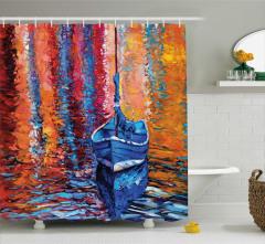Yağlı Boya Desenli Duş Perdesi Tekne ve Göl