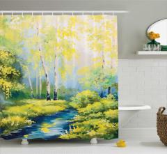 Orman ve Dere Desenli Duş Perdesi Sarı Mavi
