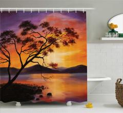 Ağaç Göl ve Dağ Desenli Duş Perdesi Mor Sarı