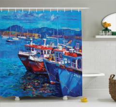 Balıkçı Teknesi Desenli Duş Perdesi Mavi Deniz