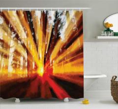 Güneş Işığı Desenli Duş Perdesi Modern Tasarım