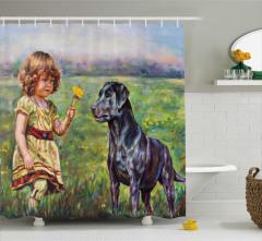 Kız ve Köpek Desenli Duş Perdesi Kır Manzaralı