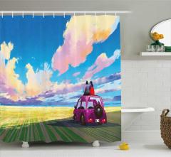 Araba ve Sevgili Desenli Duş Perdesi Doğa