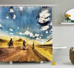 Motosiklet ve Yol Desenli Duş Perdesi Macera