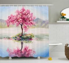 Çiçekli Ağaç ve Göl Desenli Duş Perdesi Pembe