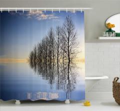 Sonbahar Temalı Duş Perdesi Ağaçlar Göl Mavi Siyah
