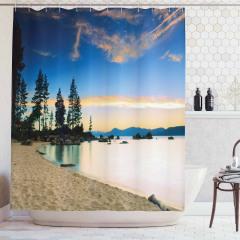 Romantik Kumsal Manzaralı Duş Perdesi Deniz Mavi