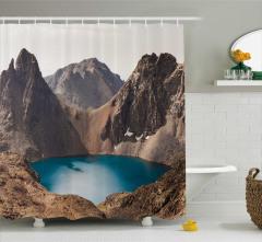 Saklı Doğal Cennet Temalı Duş Perdesi Göl Manzaralı
