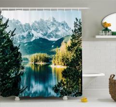 Karlı Dağ Manzaralı Duş Perdesi Göl Orman Yeşil Doğa