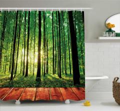 Doğayla İç İçe Temalı Duş Perdesi Orman Güneş Yeşil
