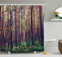 Orman Manzaralı Duş Perdesi Doğa Kahverengi Yeşil