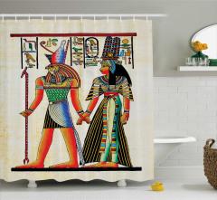 Antik Mısır Desenli Duş Perdesi Rengarenk