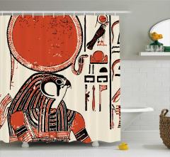 Hiyeroglif Desenli Duş Perdesi Antik Mısır