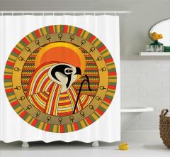 Nostaljik Mısır Desenli Duş Perdesi Hiyeroglif