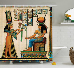 Antik Hiyeroglif Desenli Duş Perdesi Rengarenk