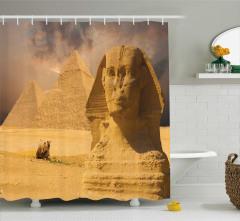 Sfenks ve Piramit Temalı Duş Perdesi Nostaljik