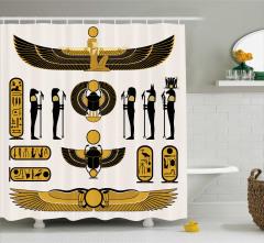 Mısır Hiyeroglif Desenli Duş Perdesi Antik