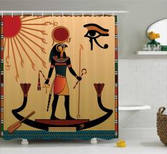 Mısır Güneş Tanrısı Desenli Duş Perdesi Antik