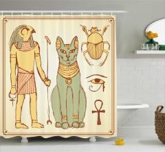 Mısır Tanrıları Desenli Duş Perdesi Nostaljik
