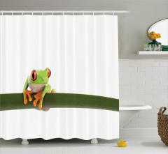 Egzotik Kurbağa Temalı Duş Perdesi Yeşil Beyaz