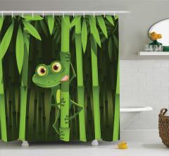 Bambu ve Kurbağa Desenli Duş Perdesi Yeşil