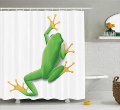 Yeşil Kurbağa Desenli Duş Perdesi Tropikal