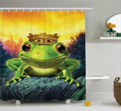 Kurbağa Kral Desenli Duş Perdesi Sarı Yeşil