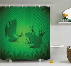 Kurbağa ve Yaprak Temalı Duş Perdesi Yeşil