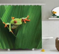 Yeşil Bitki ve Kurbağa Temalı Duş Perdesi Doğa