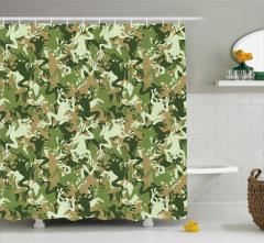 Yeşil Kamuflaj Desenli Duş Perdesi Kurbağalı