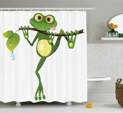 Sevimli Kurbağa Desenli Duş Perdesi Çocuklara