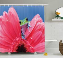 Çiçek ve Kurbağa Temalı Duş Perdesi Pembe Mavi