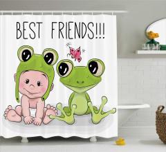 Bebek ve Kurbağa Desenli Duş Perdesi Çocuklara