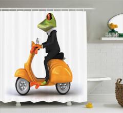 Motosiklet ve Kurbağa Temalı Duş Perdesi Çocuk