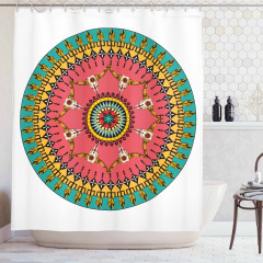 Rengarenk Duş Perdesi Etnik Süslemeler Şık Tasarım