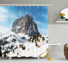 Kayak Temalı Duş Perdesi Karlı Dağ Manzaralı Beyaz