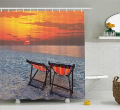 Gün Doğumu ve Plaj Temalı Duş Perdesi Turuncu
