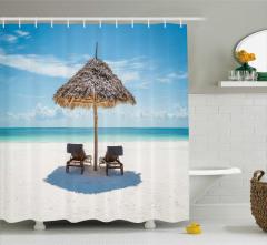 Egzotik Adada Tatil Temalı Duş Perdesi Şık