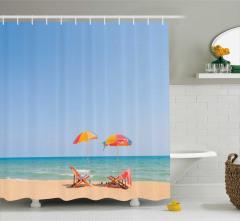 Yaz Tatili Temalı Duş Perdesi Deniz ve Kumsal