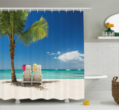 Kumsal ve Palmiye Temalı Duş Perdesi Deniz
