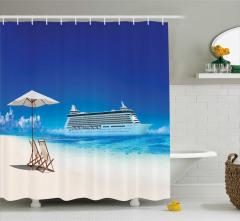 Kumsal ve Yolcu Gemisi Temalı Duş Perdesi Mavi