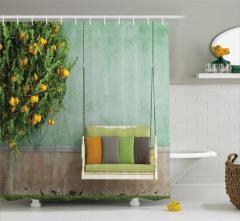 Huzur Temalı Duş Perdesi Limon Ağacı ve Salıncak