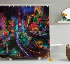 Rengarenk Noel Bahçesi Temalı Duş Perdesi Yılbaşı