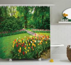 Lale Bahçesi Temalı Duş Perdesi Rengarenk Çiçekler