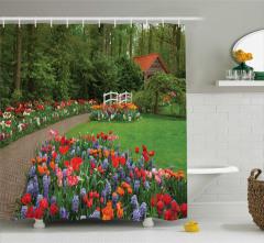 Bahar Bahçesi Temalı Duş Perdesi Rengarenk Çiçekler
