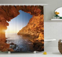 Deniz ve Mağara Temalı Duş Perdesi Kahverengi